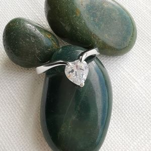 NWT Sterling Silver Ring 925 CZ Heart Solitaire